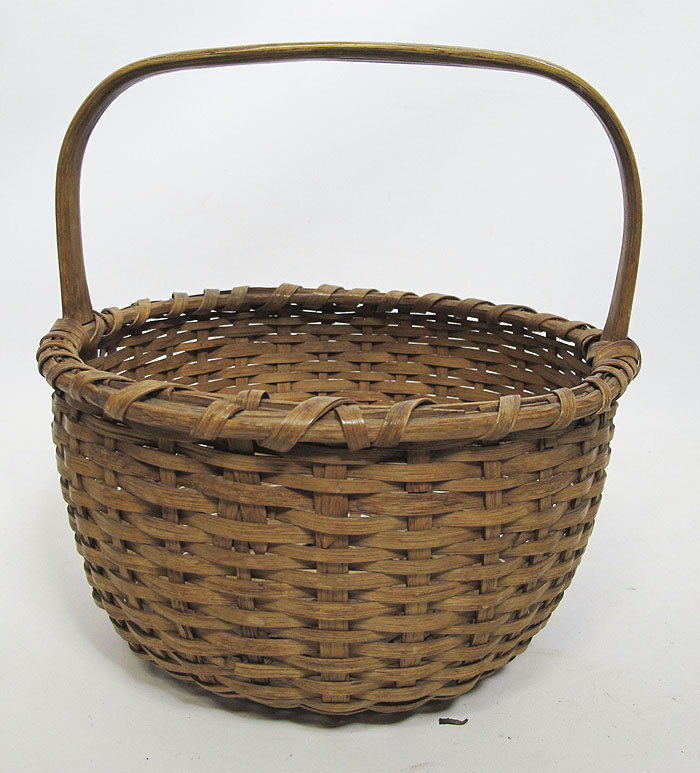 Woven Gathering Basket : Antique primitive hand woven oak splint gathering basket
